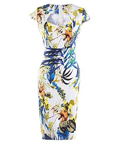 Mini Vestiti Donna Manica Corta Elegante Stampato Floreale Tubino Vestito Abito da Sera Come immagine