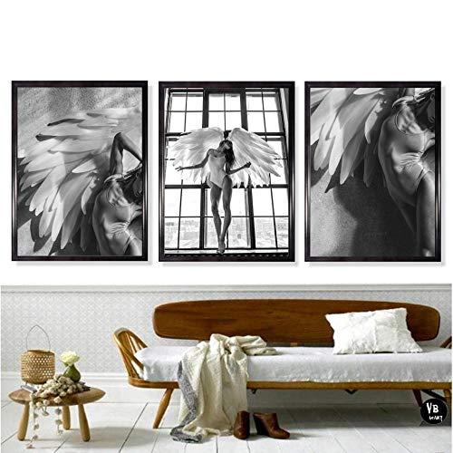 xwwnzdq 3 stücke Mädchen Engel Feder Bild Wandkunst Leinwand Malerei Nordic Poster Und Drucke Schwarz Weiß Wandbilder Druck Auf Leinwand Für Wohnzimmer Decor