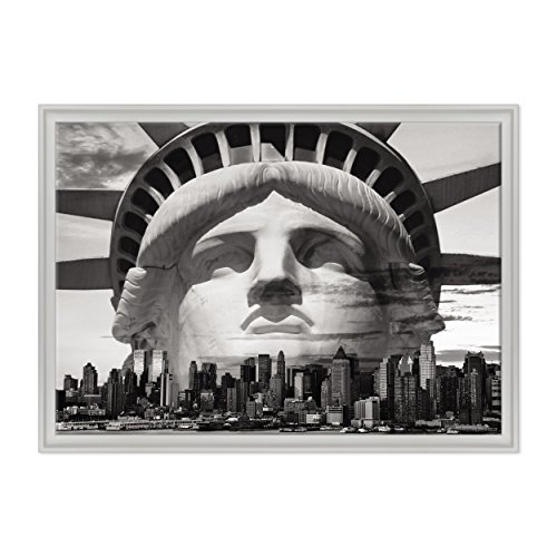 ConKrea Quadro auf Leinwand - fertig zum Aufhängen - Cittö New York B/N - Freiheitsstatue - Liberty - USA America - 70 x 100 cm - Zeitgemäßer Stil Weiß - (Art.002)