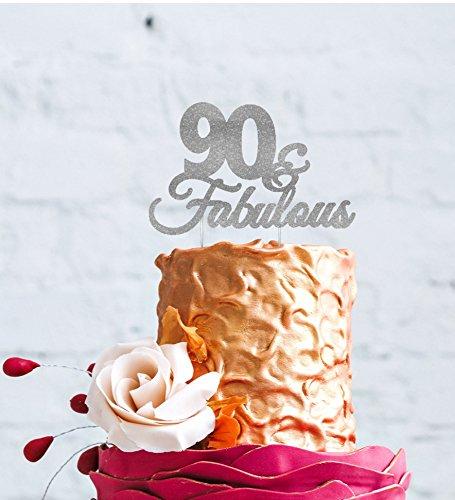 90 Fabulous 90th Birthday Cake Topper Swirly Glitter
