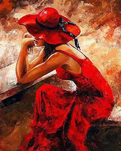 FDDPT Malen nach Zahlen DIY Erwachsene für Kinder Feminines rotes Kleid 40 x 50 cm