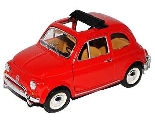 Bburago FIAT 500L Klassik Rot Ur Modell ab 1957 18-22099 1/24 Modell Auto mit individiuellem Wunschkennzeichen