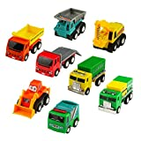 #8: Push Pull Back Car Toy Mini Cars Toys Truck Model Set Working Vehicle Truck Series8 pcs Great Gift for Kids Boys Girls Above 3 Years Old Toys