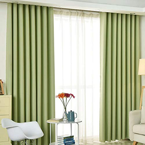 LIZHIFENG Wohnzimmer Schlafzimmer Chenille Blackout Vorhänge 132x242cm (Breite x Höhe) 2 Panels grün - Panel-grüne Vorhänge Zwei