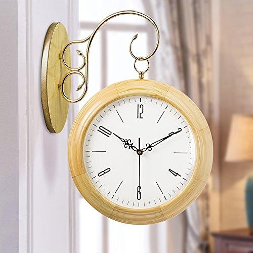 WALL CLOCK WERLM Simple et Élégant Salon Chambre à Coucher Horloge Murale Mute Créatif Salon en Bois horloges Horloge Double Face 20 cm à 50,5 cm1