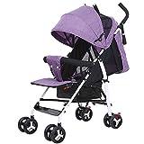 Eeayyygch Baby Kinderwagen kann sitzen Liegen Ultraleichte Tragbare Falten Kinderwagen Baby Kinder Vier Rad Stoßdämpfer Push Regenschirm (Rosa) (Farbe : Lila, Größe : -)