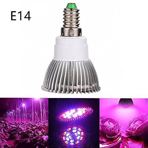 Luniquz 18LEDs Lampe de Plante Intérieur 8W E14 Ampoule de Croissance pour Végétation Hydroponique ou en Serre(12 Rouges et 6 Bleux)