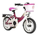 BIKESTAR Premium Sicherheits Kinderfahrrad 12 Zoll für Mädchen ab 3-4 Jahre | 12er Kinderrad Classic | Fahrrad für Kinder Berry & Weiß