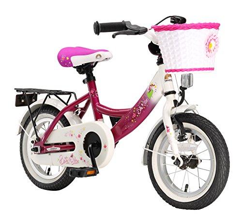 Bikestar Vélo Enfant pour Garcons et Filles DE 3-4 Ans ★ Bicyclette Enfant 12 Pouces Classique avec Freins ★ Berry & Blanc