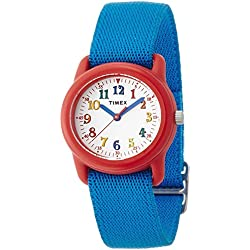 Timex Kid's TW7B99500 Quartz Watch with White Dial Analogue Display and Blue Nylon Strap