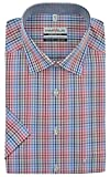 Marvelis Kurzarm Hemd Comfort Fit Blau Rot Kariert, Kragenweite:45