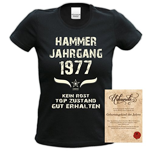 Damen Motiv T-Shirt :-: Geburtstagsgeschenk Geschenkidee für Frauen zum 40. Geburtstag :-: Hammer Jahrgang 1977 :-: Girlie kurzarm Shirt mit Geburtstags-Aufdruck :-: Farbe: schwarz Schwarz