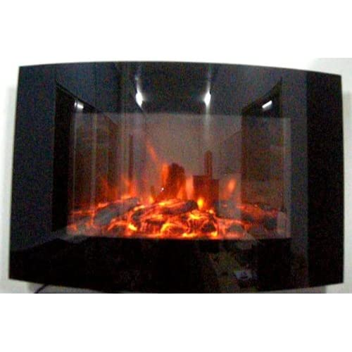 51WflBOtqCL. SS500  - TruFlame 2020 Wall Mounted Arched Glass Electric Fire with Log Effect (88cm wide)