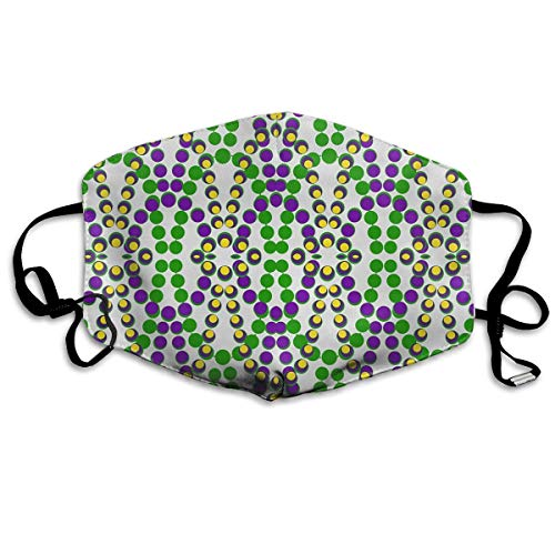 Nicegift Mardi Gras Beads Face Masks Breathable Dust Filter Masks Mouth Cover Masks with Elastic Ear Loop