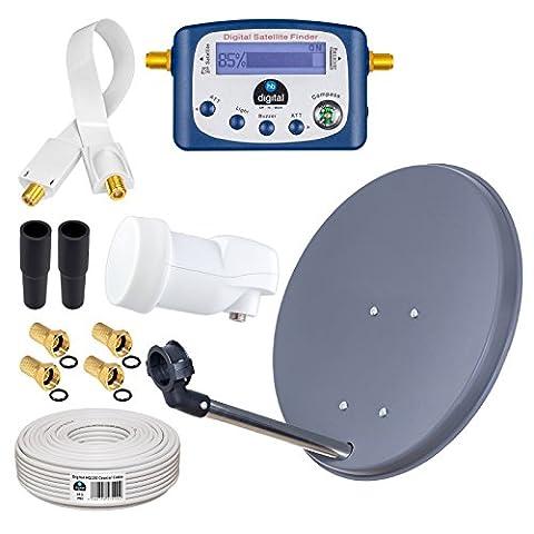 HB-DIGITAL Sat-Komplett-Set: Mini Sat Anlage 40cm Schüssel Anthrazit + LNB 0,1 dB + 10m Kabel + SAT-Finder mit digitaler Anzeige und vergoldeten Anschlüssen + Fensterdurchfürung