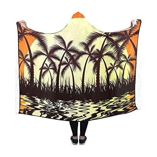 Yushg Mit Kapuze Decke Tropic Sunset Decke 60 x 50 Zoll Comfotable Hooded Throw Wrap -