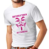 Männer T-Shirt The Revolution is Coming - The Anonymous Hackers mask (Small Weiß Magenta)