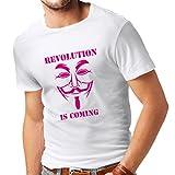 lepni.me T-Shirt pour Hommes La révolution Arrive - Le Masque des Hackers anonymes, V pour Vendetta (XXXXX-Large Blanc Magenta)...