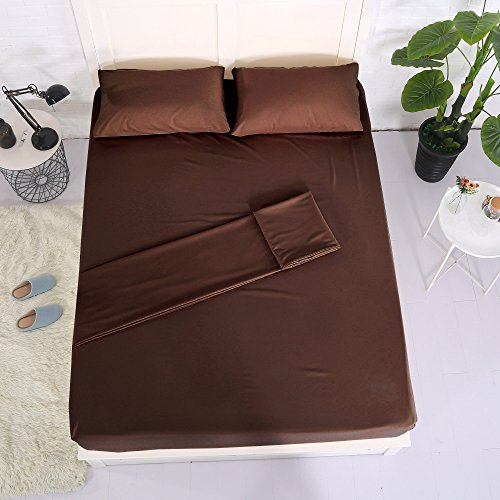 Sheets and Pillowcases Sets Polyester Bed Sheet Set Bedding Linen 4 Pieces(1 Flat Sheet,1 Fitted Sheet, 2 Pillowcases)