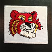Parches - tigre animal - rojo - 7.5x6.2cm - termoadhesivos bordados aplique para ropa