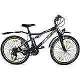 26 Zoll Jungen Fahrrad Vollgefedert Mountainbike 18 Gang Shimano StVZO Schwarz