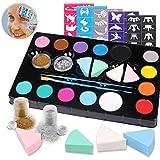 Hoiny Kinderschminke Set Face Paint Set,12- Professionelle Schminkfarben, mit 30 Malerschablonen,Ungiftig,Makeup für Halloween, Weihnachten, Geburtstagsfeier, Karneval oder Körpermalerei.