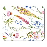 """HOTNING Tappetini per Il Mouse Watercolor Floral Flowers Echinacea Yellow Foxglove Lupine And Blue Aquilegia 11.8""""x 9.8"""" Decor Office Nonslip Rubber Backing Mousepad Mouse Mat"""