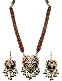 DollsofIndia Adjustable Bead Necklace With Brown Lac Meenakari Pendant & Earrings - Pendant - 1.75 Inches Earrings...
