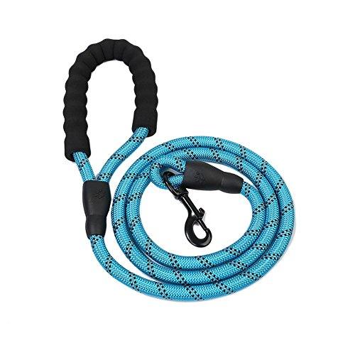 hifuture 5Fuß Pet Reflektierende Leine rund Seil Nylon Hunde Leine leicht Elastic zusammenklappbar Schutz Hund Hund Seil mit Griff blau -