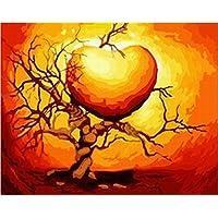 Liebe Herz-DIY Anstrich durch Nummer Kits Acryl 16x20 cm Bild malen nach Zahlen Frameless