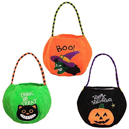 XONOR 3 Stück Halloween-Süßes sonst gibt's Saures Tragetaschen - Wiederverwendbare Süßigkeit-Einkaufstüte-Halloween-Partei-Bevorzugungs-Geschenk-Taschen für Kinder, Kürbis, Schwarze Katze, Hexe (A)