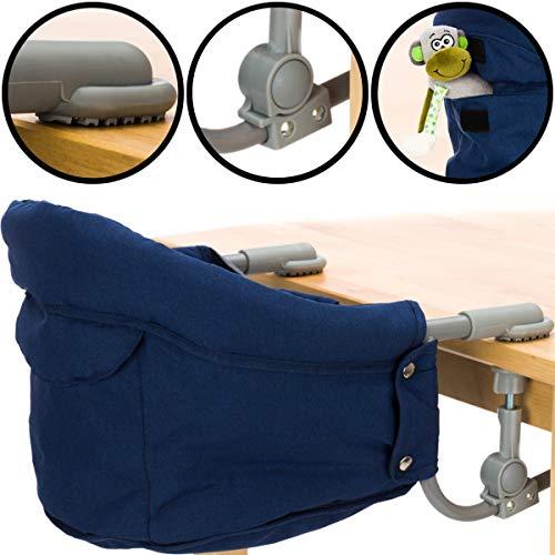 Faltbarer Tischsitz/Hochstuhl/Stuhlsitz in schönem Melange Design (Bis 15kg) Praktisch für Zuhause und Unterwegs (Blau Melange)