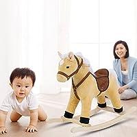Baby Rocking Horse Toys, Plush Rocker Animal Children Riding Chairs Solid Wooden Swing Kids Cute Toddler Nursery Gift for Boy Girls 1-3 Year 70.5×60×28cm