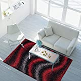 ayshaggy Teppich Shaggy-Design Hochflor Langflor mit Wellen-Muster für Wohnzimmer/Schlafzimmer in Rot, Grau, Schwarz, Größe: 80 x 150 cm