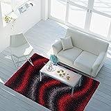Shaggy-Teppich Hochflor Langflor Gemustert Wellen-Muster Modern Öko Tex Rot Grau Schwarz 80x150 cm