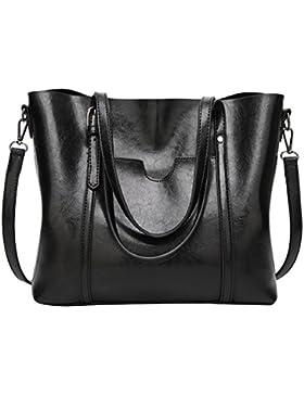 PB-SOAR Damen Elegant Shopper Schultertasche Umhängetasche Ledertasche Handtasche Henkeltasche 30x26x12cm (B x...
