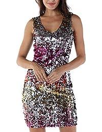Lenfesh_Vestidos Lentejuelas de Fiesta para Mujer Vestido Atractivo sin Mangas la Moda de Las Mujeres Vestido