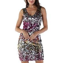 beautyjourney Vestido Ajustado de Lentejuelas para Mujer, Moda Fuera del Hombro Mini Vestido sin Mangas