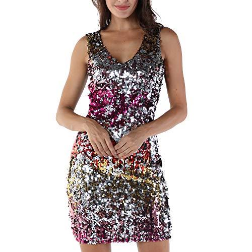 beautyjourney Vestido Ajustado de Lentejuelas para Mujer, Moda Fuera del Hombro Mini Vestido sin Mangas Vestido de Noche Vestido de Fiesta Traje Festivo