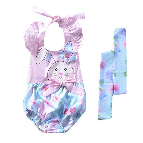 Neonate Infants Summer Pagliaccetti Tute con fascia, Wongfon Completi senza maniche in cotone con disegni floreali per bambini, vestiti con tutina infantile 0-18 mesi