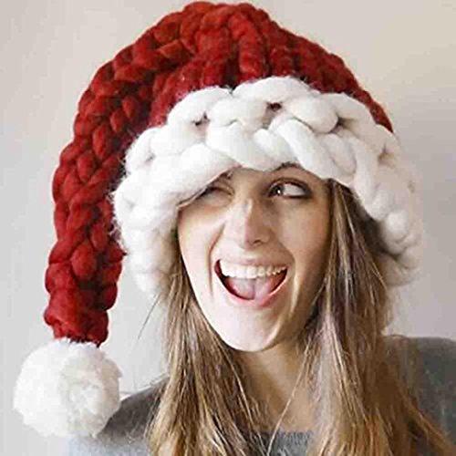 Hemore Wollmütze Strickmütze von Santa Claus Hüte Frauen von Erwachsenen Männern Sehr praktisch Feiertage und Geburtstage Mittelstück Ornament Saisonale Deko/Weihnachten
