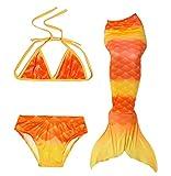 Das beste Mädchen Meerjungfrauen Bikini Kostüm Meerjungfrau Schwimmanzug Badeanzüge Tankini (130, A - Orange Gelb)