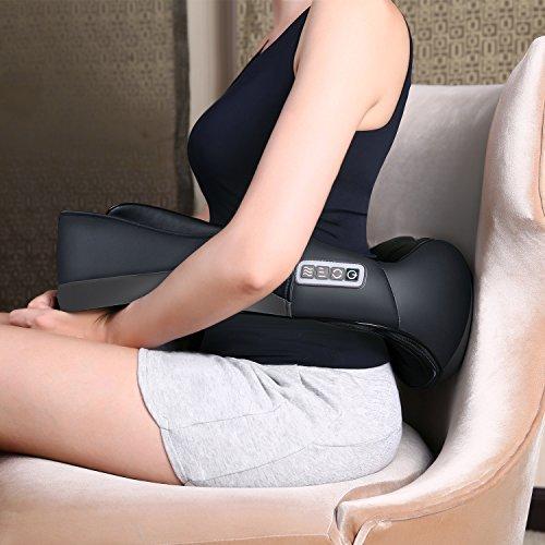 MARNUR Shiatsu Massagegerät für Schulter Nacken Rücken Nackenmassagegerät mit Wärmefunktion und 3 Einstellbare Geschwindigkeit Muskel Schmerzlinderung Entspannung zu Hause Büro und Auto -