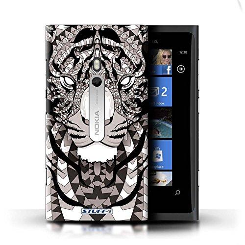 Coque en plastique pour Nokia Lumia 800 Collection Motif Animaux Aztec - Hibou-Couleur Tigre-Mono