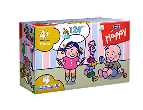 Bella Baby Happy Windeln Gr. 4 plus Maxi Plus 9-20kg Big Pack, 2er Pack (2 x 62 Windeln), 1er Pack (1 x 124 Stück)
