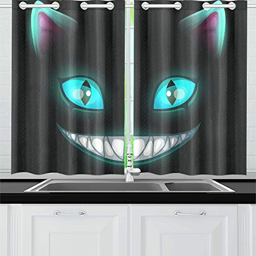 JOCHUAN Furchtsames lächelndes Katzengesicht der Fantasie auf Küchenvorhängen Fenstervorhangebenen für Café, Bad, Wäscherei, Wohnzimmer Schlafzimmer 26X39 Zoll 2Pieces (Halloween Furchtsames Mädchen Kleines)