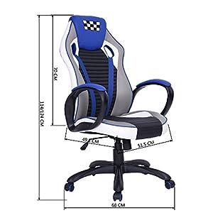51WfqepBwaL. SS300  - fanilife-Racing-silla-Gaming-estilo-giratorio-de-piel-sinttica-de-espalda-alta-silla-de-oficina-ajustable-ordenador-tarea-silla