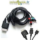 Komponenten Kabel / Component Cable für Nintendo Wii und Wii U Konsole HD AV TV YUV schwarz
