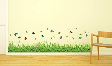 Amazon Brand - Solimo Wall Sticker for Living Room (Butterfly Garden, Ideal Size on Wall - 137 cm x 41 cm)