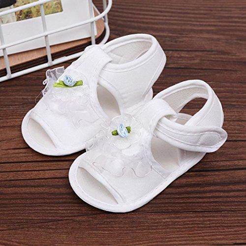 IGEMY Nouveau né Petites filles Chaussures Fleur Des sandales Semelle molle Antidérapant Baskets Blanc